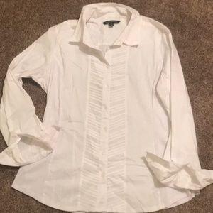 Beautiful white tuxedo style button up xl